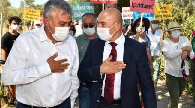 Başkan Soyer Go-Kart pistine karşı başlayan direnişe katıldı